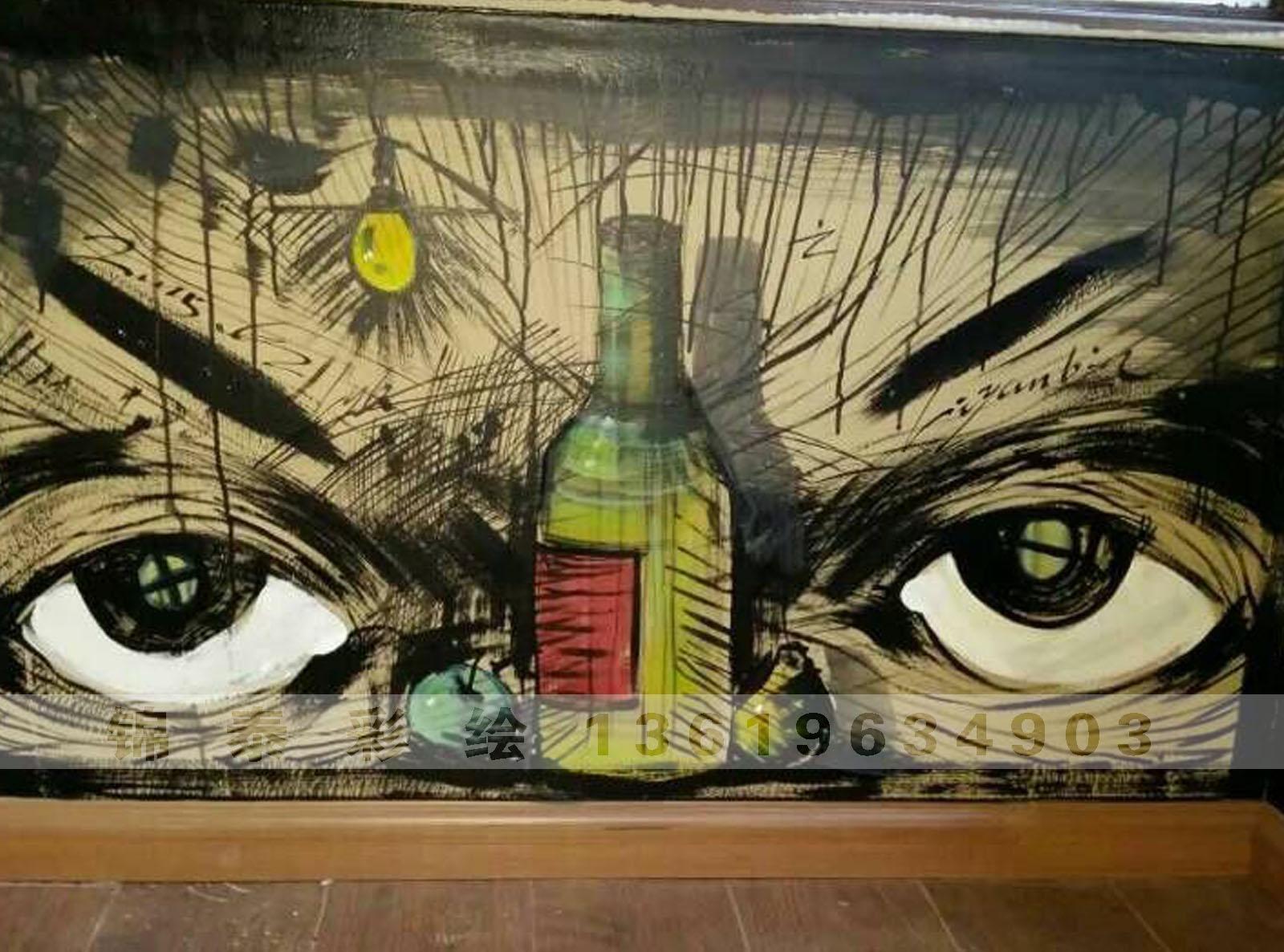 云南昆明酒吧墙体彩绘壁画手绘墙画